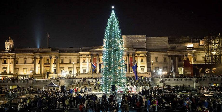 Коледната елха в Лондон грейна на площад