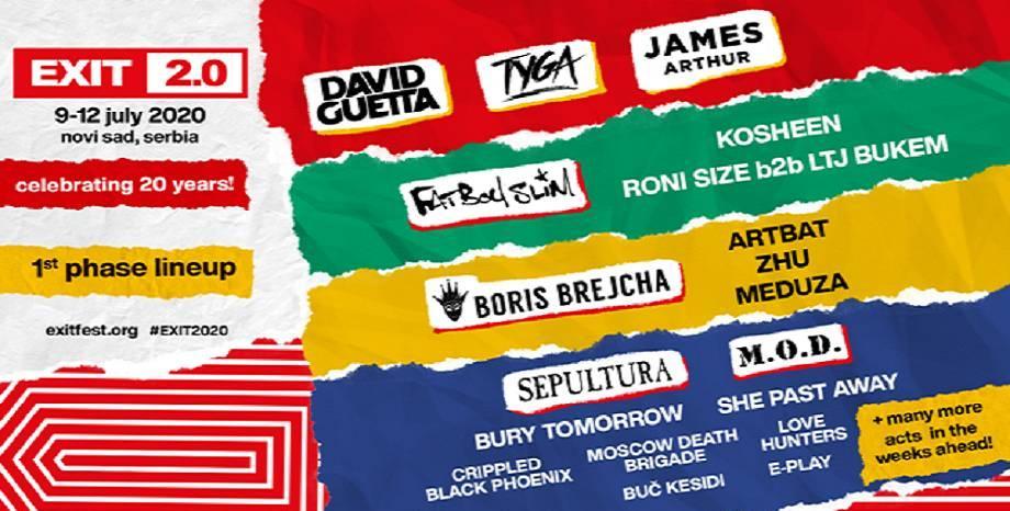 Първите артисти, част от EXIT FESTIVAL 2020 - David Guetta, Tyga, James Arthur, Fatboy Slim и още...